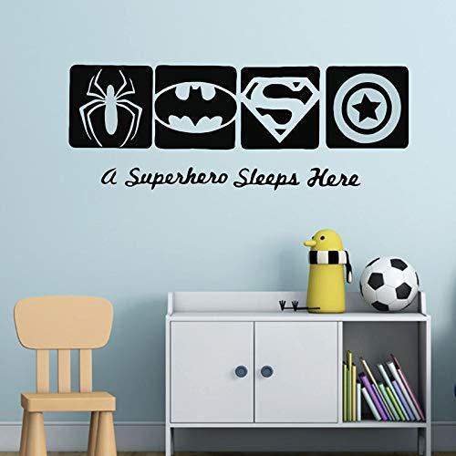 Vinyl Decal Quote Art Wall Sticker Mirror Decal A Superhero Sleeps Here - Bathroom Mirrors Batman