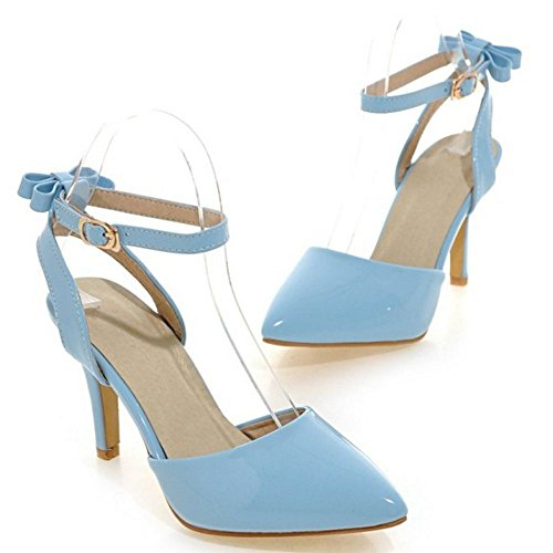 COOLCEPT Women Fashion Ankle Strap Sandals Stiletto Closed Toe Slingback Shoes With Bow Size Blue mmIN3z