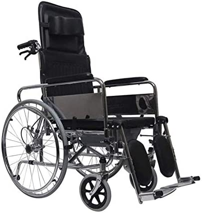 ZXCMNB Rollstuhl, Selbstfahrender Rollstuhl Mit Beinstütze Verstellbares Fußpedal Abnehmbare Armlehne Klappbarer Deluxe-Toilettenstuhl for Senioren, Behinderte Und Behinderte