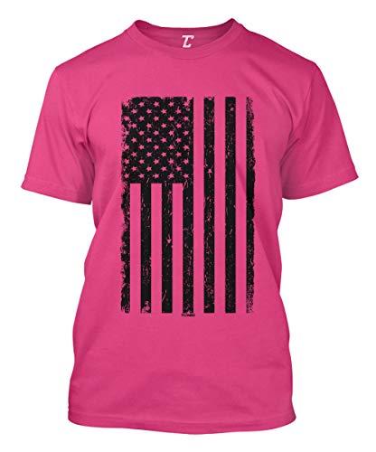 United States Military Marines T-shirt - Distressed Black USA Flag - United States Men's T-Shirt (Pink, X-Large)