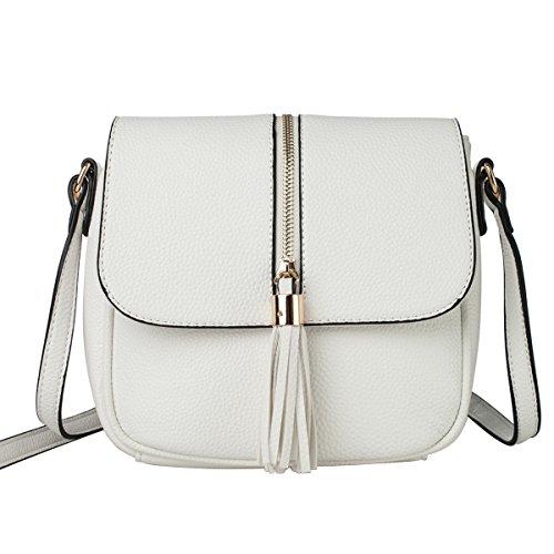 La Cle LA-058 Soft Leather Tassel Crossbody Shoulder Bag(White)