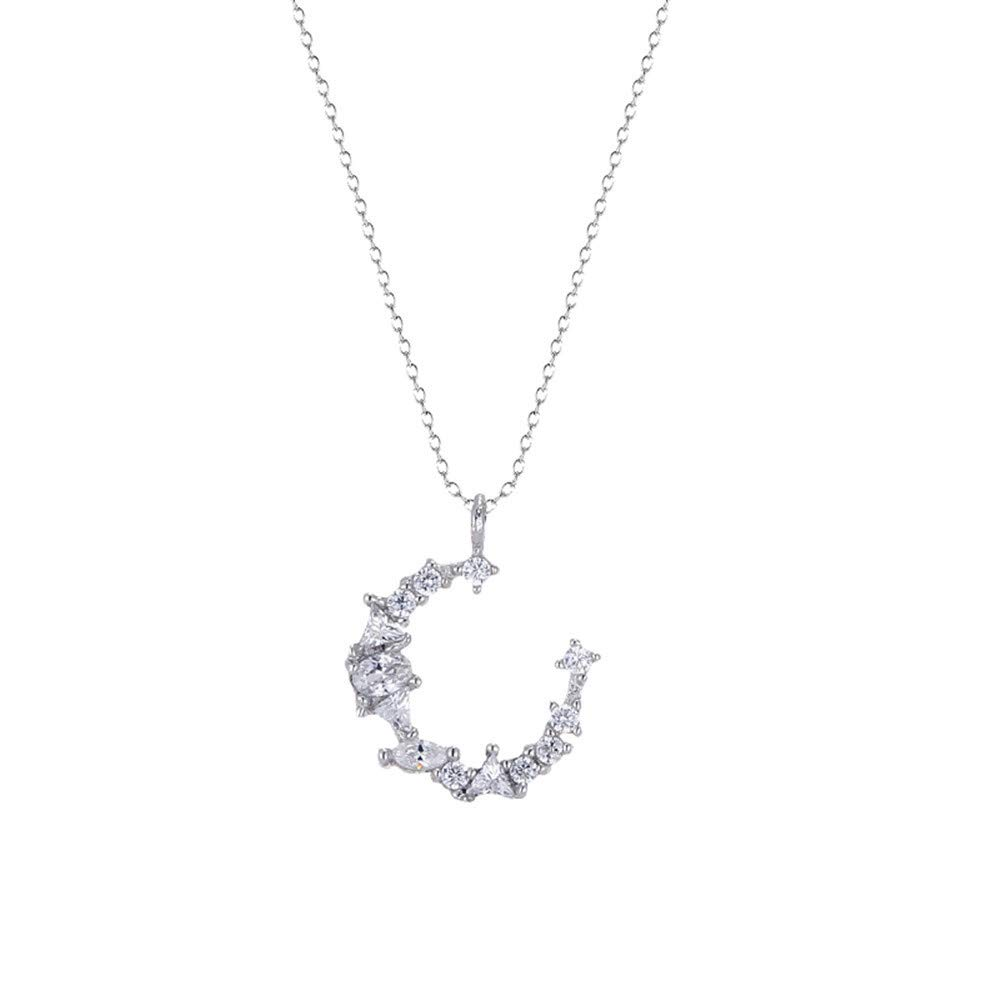 Dana Carrie Women jewelry S925 sterling silver clavicle necklace irregular crescent moon pendant gift
