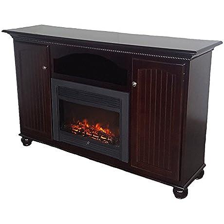 American Heartland Poplar Tall Deluxe Fireplace TV Stand In Aquamarine
