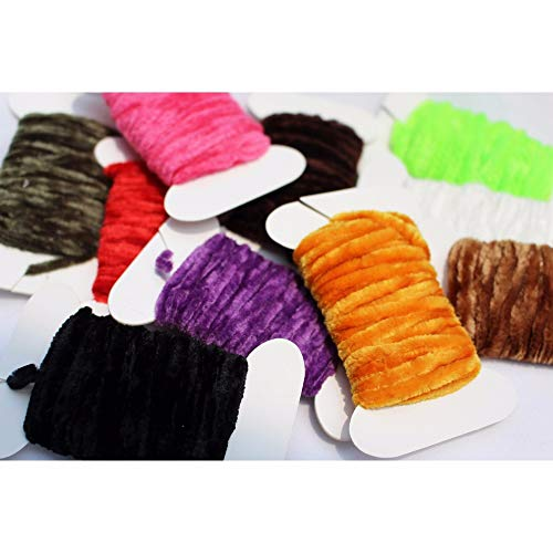 (10 Colors Worms Rayon Yarn Tinsel Chenille Floss Line Thread Woolly Bugger Nymph Tying Materials - (Color: 10 Colors Total 50m))