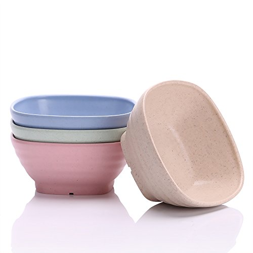 UPSTYLE Eco-friendly Wheat Straw Biodegradable Bamboo Shape Square Soup Bowls Tableware Set (Ware Fruit Bowl)