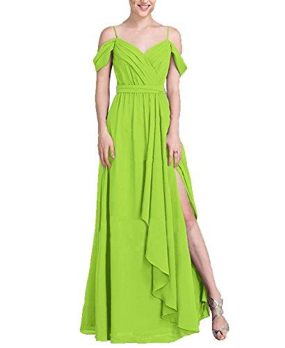 Nicefashion Women's Vintage V Neck Cold Shoulder Floor Length Split Evening Prom Dresses With Belt Lime Green US6