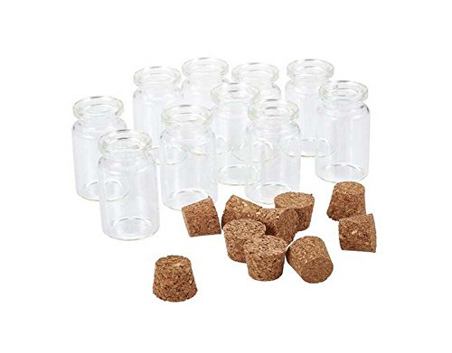 (5ml 0.17oz Portable Mini Clear Glass Wishing Bottle Essential Oil Jars Vial Containers Holder with Cork Stoppers for Arts & Crafts Message (12))