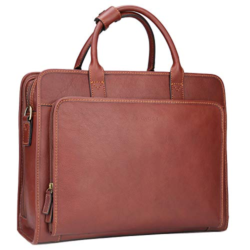 Banuce Vintage Full Grains Italian Leather Briefcase for Men Attache Case Tote Handbag Business Bag 14 Inch Laptop Shouder Messenger Bag
