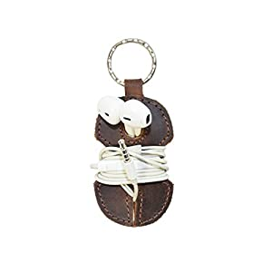 Rustic Leather Key Chain & Headphone Wrap Handmade by Hide & Drink :: Bourbon Brown from Hide & Drink