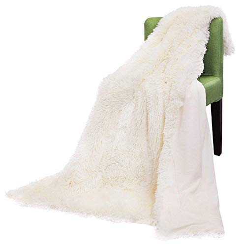 (Faux Fur Throw Blanket, Super Soft Shaggy Longfur Throw Blanket, Snuggly Fuzzy Faux Fur Lightweight Warm Elegant Cozy Plush Microfiber Blanket for Couch Bed Chair Photo Props (Cream-63
