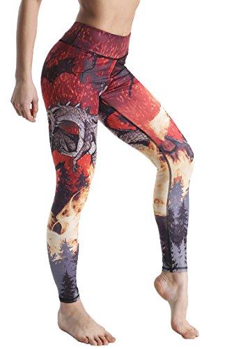 COOleggings Women's Girls Charizard Print Workout Capri Leggings Tights Red XS