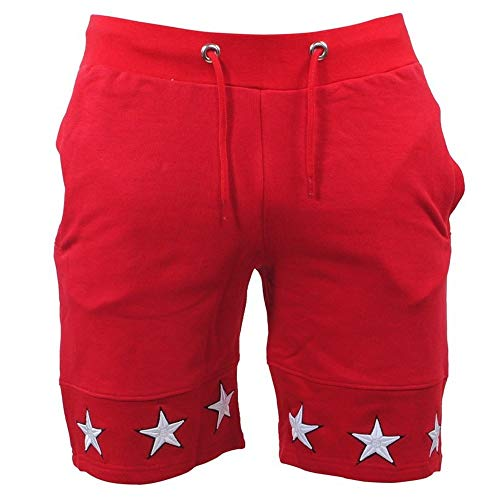 NEEKEY Fashion Men Star Casual Pocket Beach Work Casual Short Trouser Shorts Pants Red