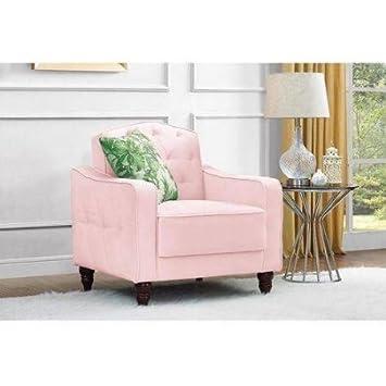 Amazon Com Novogratz Vintage Tufted Armchair Pink Velour Kitchen