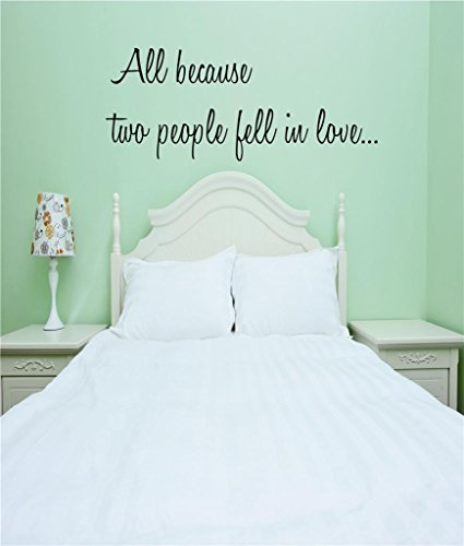 "Price comparison product image Design with Vinyl RE 2 C 2035 All Because Two People Fell In Love Quote Vinyl Wall Decal Sticker, 14 x 28"", Black"