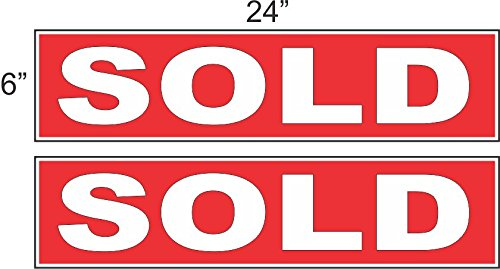 2 - 6x24 SOLD Real Estate Rider Sign Red REVERSE OUT
