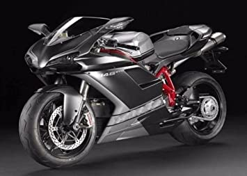 FocusAtOne Flat Black with Silver Complete Fairing Bodywork ABS Painted Plastic Injection Molding Kit for 2007-2012 07-12 2008 2009 2010 2011 Ducati 848 EVO Corse SE Tricolore 1098 RTB 1198 S
