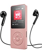 16GB MP3 Player with Bluetooth, AGPTEK Lossless Music Player with FM Radio, Voice Recorder, A02ST Expandable Up to 128GB,Rose Gold
