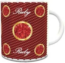 White Ceramic Coffee Mug with Birthstone Ruby Design