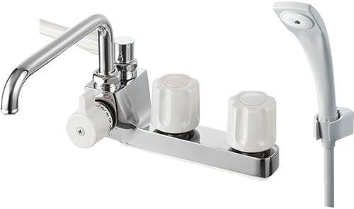[スポンサー プロダクト]SANEI 浴室用 ツーバルブデッキシャワ混合栓 一時止水付き パイプ左側 SK71041L-LH-13