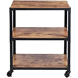 Mind Reader ' Charm' 3 Tier Wood Metal All Purpose Utility/Bar Cart, Black with Brown
