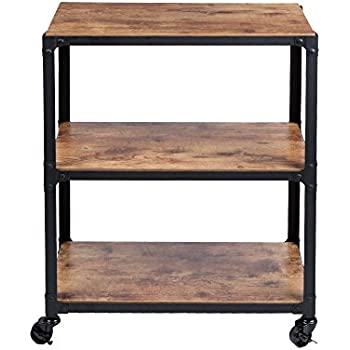 Mind Reader ' Charm' 3 Tier Wood Metal All Purpose Utility/ Bar Cart, Black with Brown