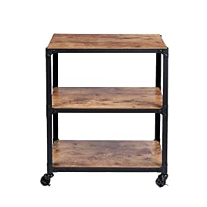 Mind Reader Charm' 3 Tier Wood Metal All Purpose Utility/Bar Cart, Black with Brown
