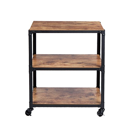 Mind Reader ' Charm' 3 Tier Wood Metal All Purpose Utility/ Bar Cart, Black with Brown (Carr Bar)