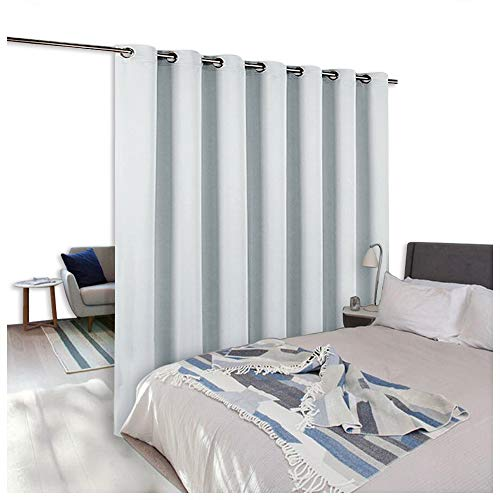 Hanging Curtain Panels (NICETOWN Room Dividers Curtains Screens Partitions, Function Thermal Blackout Patio Door Curtain Panel, Sliding Door Insulated Curtains,Extra Wide Curtains, 8.3ft Wide x 7ft Long, Greyish White)