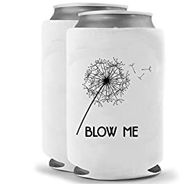 Blow Me Taraxacum Dandelion Flower Can Cooler | Set of two (2) | Crude Funny Gag Gift | Funny Novelty Bottle Insulated…