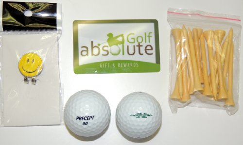 48 Precept Men's Recycled Golf Balls With Free Tee's & Magnetic Smiley Face Golf Ball Marker/Hat Clip