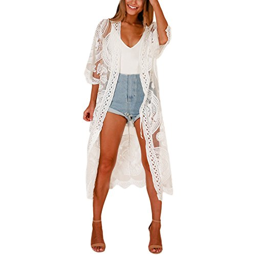 Ghazzi Kimono Cardigans Women Solid Color Kimono Cardigan Hollow Out Lace Half Sleeve Sunscreen Long Coat