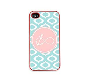 Anchored Forever Aqua Ikat Cute Hipster Red Plastic Bumper iPhone 4 Case - Fits iPhone 4 & iPhone 4S