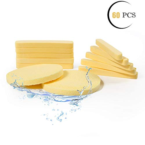 Facial Sponge Compressed,PVA Professional Makeup Removal Wash Round Face Sponge Pads Exfoliating Cleansing for Women (60 Pcs, Yellow)