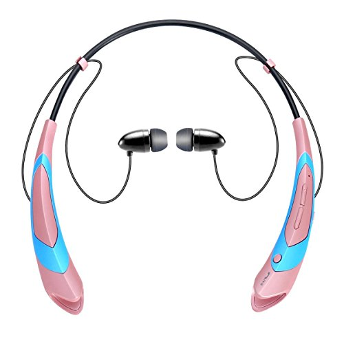 Bluetooth Earphone Headphones,V4.1 Stereo Noise Cancelling Wireless Headset, Sport Neckband Style Magnetic Earbuds with Mic for iPhone Series and Android Phones (Rose Gold)