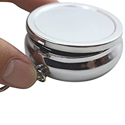 Portable Ashtray, Newness Stainless Steel Modern Portable Ashtray, Cigarette Ashtray for Outdoor Use, Ash Holder for Smokers, Pocket Smoking Ash Tray with Lid, Key Chain and Cigarette Snuffer