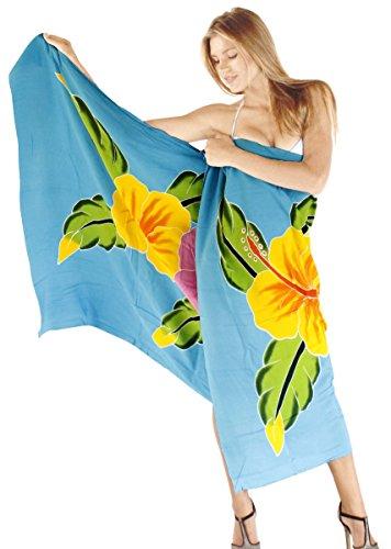 La Leela suavizar rayón encubrir mano de pintura del bikini falda de la playa pareo 78x43 pulgadas Azul Turquesa