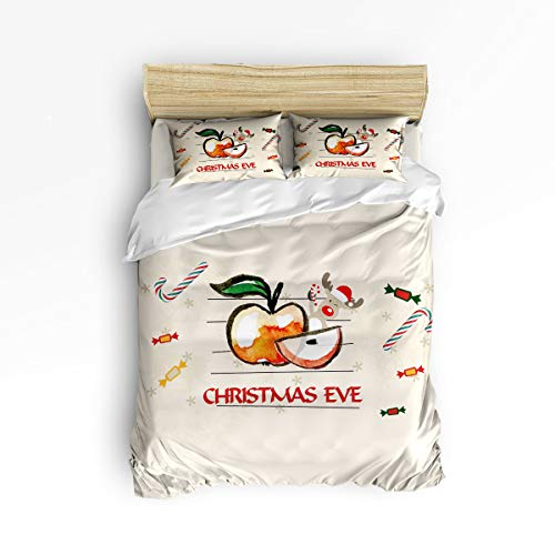 4 Piece Bedding Set Queen Size, Christmas Decorations Collection Xmas Eve Sliced Apple Reindeer and Candy Cane Graphic Art Print 4 pcs Duvet Cover Set Bedspread Daybed for Childrens/Kids/Teens/Adults