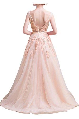Milano Huebsch Bride Applikation Spitze Ballkleider Ausschnitt Band Tuell Damen Lang Promkleider Abendkleid Schwarz V gwRpTgrCq
