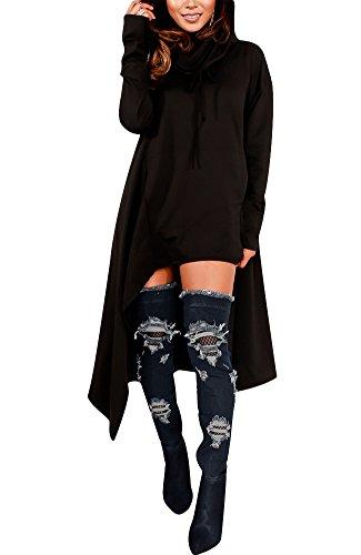 Womens Irregular Hem Loose Fitting Tops Long Sleeve Hooded Sweater Tunic Dress Black US 10 by Knight Horse