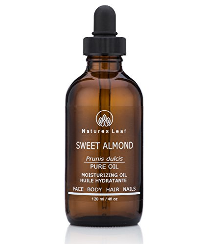 Natures Leaf Organic Sweet Almond Oil 100% Pure/Cold Pressed/Dry, Itchy Skin, Fine Lines & Wrinkles, Crows Feet, Split Ends, Frizzy's, Scars, Stretch Marks, Skin Cleanser / 4 fl oz