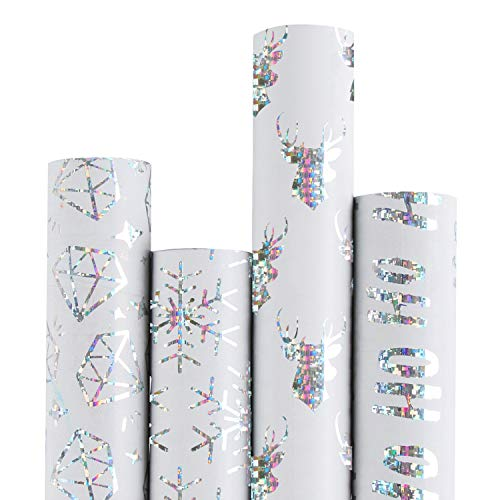 RUSPEPA Christmas Gift Wrapping Paper - White Paper with Sliver Shiny Pattern Xmas Designs Perfect for Christmas - 4 Roll-30Inch x 10Feet Per Roll (And Silver Pink Christmas)