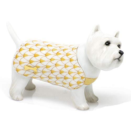 Herend West Highland Terrier Puppy Dog Porcelain Figurine Butterscotch Fishnet