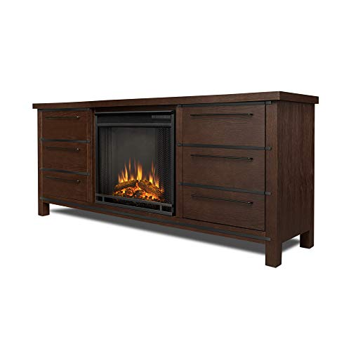 Cheap Real Flame Parsons Electric Entertainment Fireplace in Chestnut Oak Finish Black Friday & Cyber Monday 2019