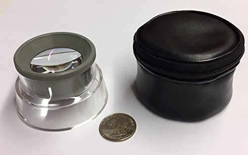 Aspheric Lens Magnifier - Stand Magnifier with 6x Adjustable Focus Aspheric Lens, Comes with Storage Case, Ideal for collectors, and inspection.