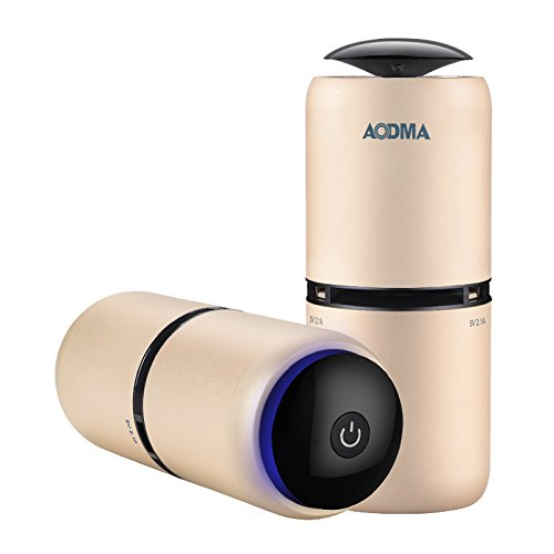 AODMA Anion Car Air Purifier ,Fresh Air Oxygen Bar, Smoke ,Odor, Smell Bacteria Remover & Dual USB Car Charger For iPhone iPad Samsung & other (Champagne Gold)