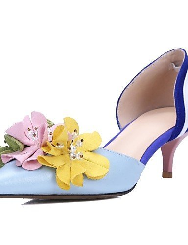 ShangYi Womens Shoes Cowhide / Leather Stiletto Heel Heels / Comfort / Pointed Toe Heels Outdoor / Party & Evening Blue Light Blue