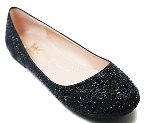 Ballet Flat Glitter Mesh On Casual Lightweigh Walstar Women Rota black Slip Rhinestone x8qR60