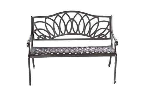 Alfresco Home Cast Aluminum Daffodil Garden Bench, Aged Iron