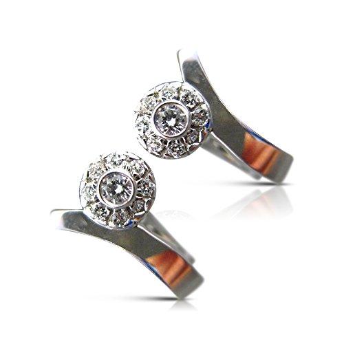 .36CT DIAMOND 18KT WHITE GOLD FLOWER CLUSTER HUGGIE POST EARRINGS #21306