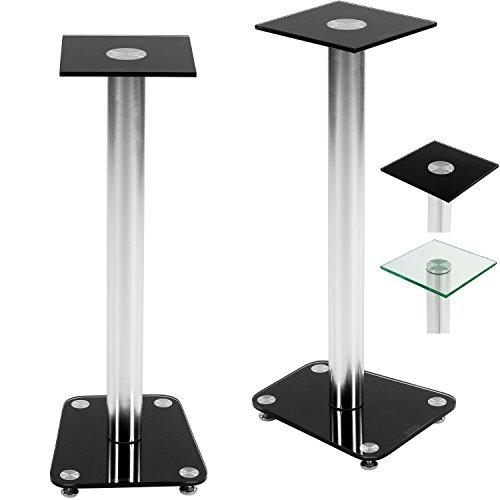 STILISTA® 2x Lautsprecherständer, Varianten: Klarglas und Schwarzglas, integrierter Kabelkanal, verchromte Alu Tubes